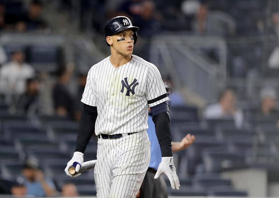 NEW YORK, NEW YORK - AUGUST 15:  Aaron Judge #99 of the New York Yankees reacts after striking out in the ninth inning against the Cleveland Indians at Yankee Stadium on August 15, 2019 in the Bronx borough of New York City. (Photo by Elsa/Getty Images)