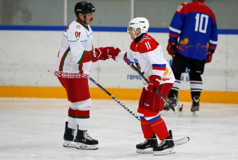 Russian President Vladimir Putin (right) and Belarusian President Alexander Lukashenko faced off in a match at Rosa Khutor in 2020