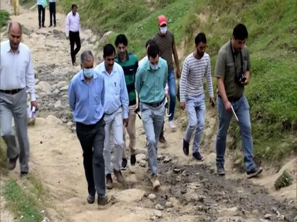 A team from the department of archives, archaeology and museum, Srinagar visiting the site (Photo/ ANI)