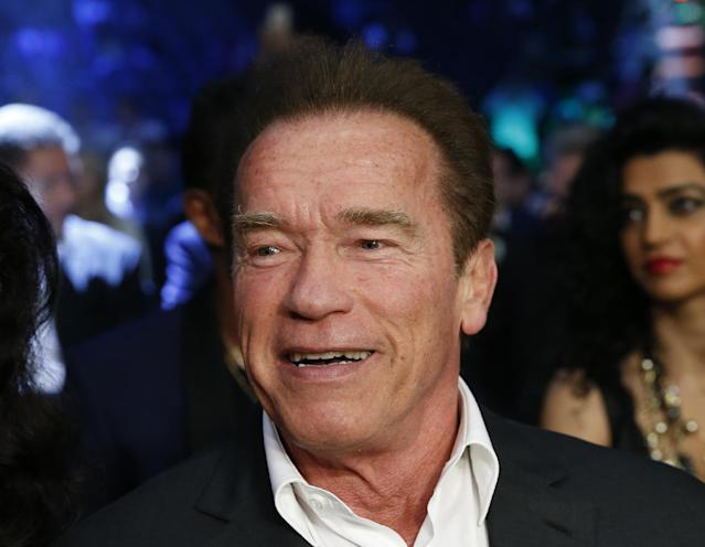 Movie star Arnold Schwarzenegger smiles before the WBO world welterweight title boxing match between Manny Pacquiao of the Philippines and Chris Algieri of U.S. at the Venetian Macao in Macau, Sunday, Nov. 23, 2014. (AP Photo/Kin Cheung)