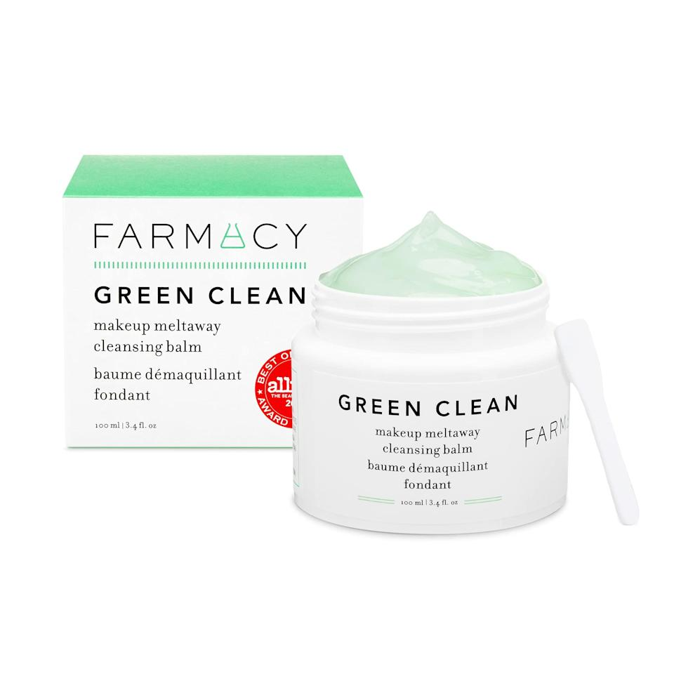 """<h2>Farmacy</h2><br><em><strong>Shop 20% off</strong> Farmacy at <strong><a href=""""https://amzn.to/3gMAz3B"""" rel=""""nofollow noopener"""" target=""""_blank"""" data-ylk=""""slk:Amazon"""" class=""""link rapid-noclick-resp"""">Amazon</a></strong></em><br><em><strong>Shop 40% off</strong> Farmacy at <strong><a href=""""https://www.farmacybeauty.com/products/green-detox-protect-set"""" rel=""""nofollow noopener"""" target=""""_blank"""" data-ylk=""""slk:Farmacy"""" class=""""link rapid-noclick-resp"""">Farmacy</a></strong></em><br><br><strong>Farmacy</strong> Green Clean Makeup Meltaway Cleansing Balm, $, available at <a href=""""https://amzn.to/3xKT6CS"""" rel=""""nofollow noopener"""" target=""""_blank"""" data-ylk=""""slk:Amazon"""" class=""""link rapid-noclick-resp"""">Amazon</a>"""