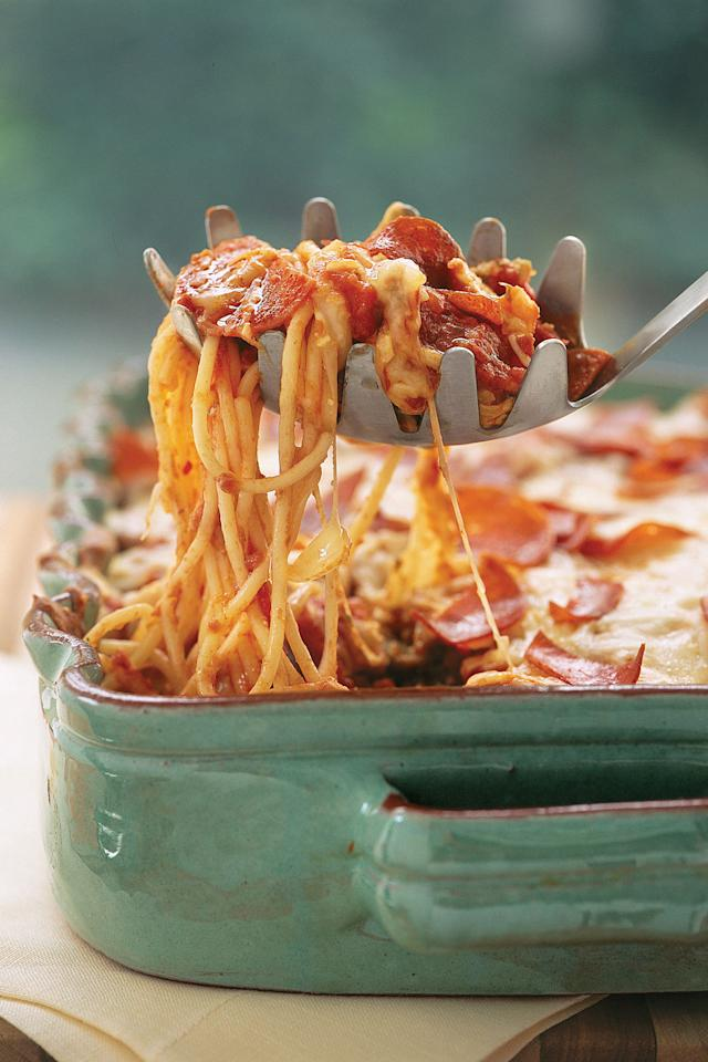 "<p><b>Recipe: <a rel=""nofollow"" href=""http://www.myrecipes.com/recipe/pizza-spaghetti-casserole"">Pizza Spaghetti Casserole </a></b></p> <p>Two Italian favorites—<a rel=""nofollow"" href=""http://www.southernliving.com/dish/pizza/skillet-pizza"">pizza</a> and <a rel=""nofollow"" href=""http://www.southernliving.com/pasta/types/spaghetti/spaghetti-recipes-dinner"">spaghetti</a>—come together in this casserole that's ready in 40 minutes.</p>"