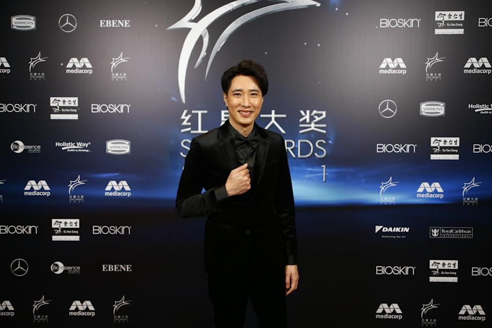 Dasmond Koh, who received the All-time Favourite Artiste Award at Star Awards 2021 held at Changi Airport and the Jewel Changi mall on 18 April 2021. (Photo: Mediacorp)