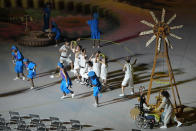 Actors perform during the opening ceremony for the 2020 Paralympics at the National Stadium in Tokyo, Tuesday, Aug. 24, 2021. (AP Photo/Eugene Hoshiko)