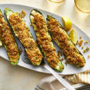 <p>Grilled zucchini is one of the great food joys of summer. In this easy recipe, the crunchy, bright breadcrumbs offset the sweet, soft zucchini in the most delightful way. Serve this healthy side with grilled chicken, fish or shrimp or as part of a vegetarian summer meal. This recipe is easily doubled or tripled if you have a bumper crop of zucchini.</p>