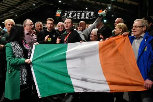 Sinn Fein party supporters celebrated at a Dublin count