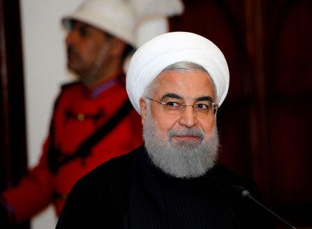 FILE PHOTO: Iranian President Hassan Rouhani speaks during a news conference with Iraqi President Barham Salih (not pictured) in Baghdad, Iraq, March 11, 2019. REUTERS/Thaier al-Sudani/File Photo