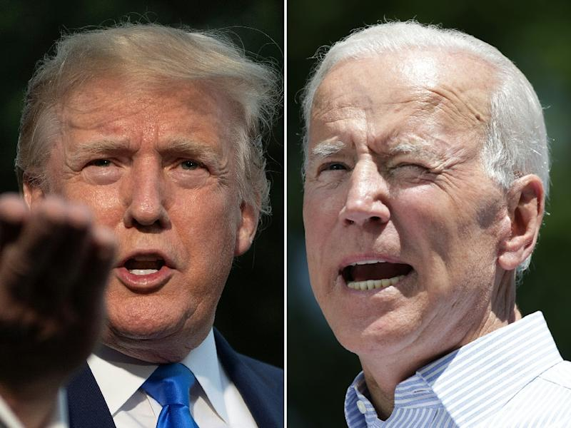 """President Donald Trump (L) described former vice president Joe Biden -- the Democratic hopeful currently leading in the polls -- as """"weak mentally"""" (AFP Photo/Jim WATSON, Dominick Reuter)"""
