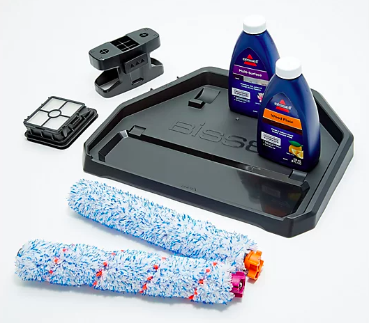 Get a dual-action brush roll, storage tray, and an 8-oz bottle of multi-surface cleaner with the Bissell Crosswave. (Photo: QVC)