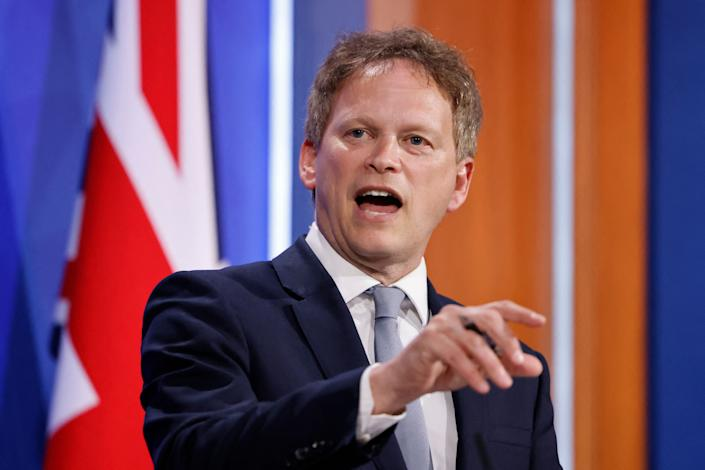 Britain's Transport Secretary Grant Shapps gives a virtual press conference inside the new Downing Street Briefing Room in central London on May 7, 2021. (Photo by Tolga Akmen / POOL / AFP) (Photo by TOLGA AKMEN/POOL/AFP via Getty Images)
