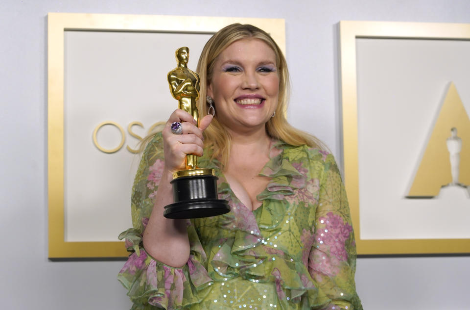 Emerald Fennell, winner of the award for best original screenplay for