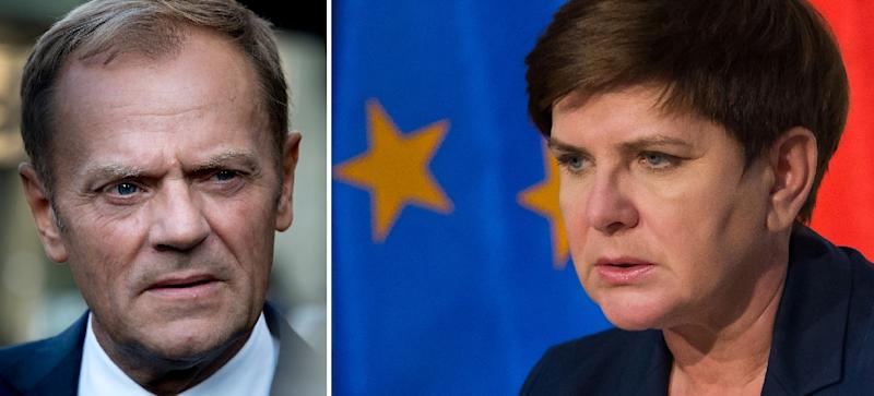 Only Poland's Prime Minister Beata Szydlo, right, voted against Tusk's re-election