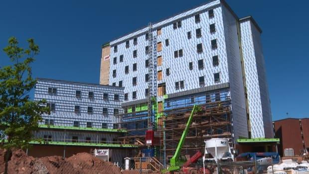Charlottetown has seen a surge in construction in the past year, including work on this new UPEI residence.  (Brian Higgins/CBC - image credit)