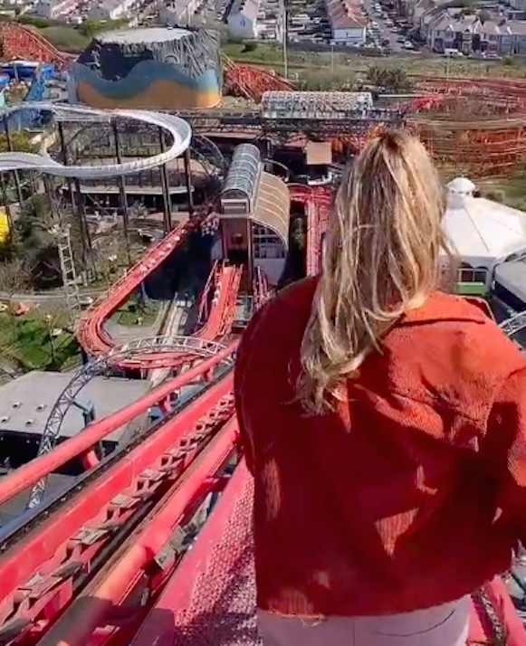 One of the riders posted a video clip of the steep walk down the rollercoaster. (TikTok/@geo_connor)