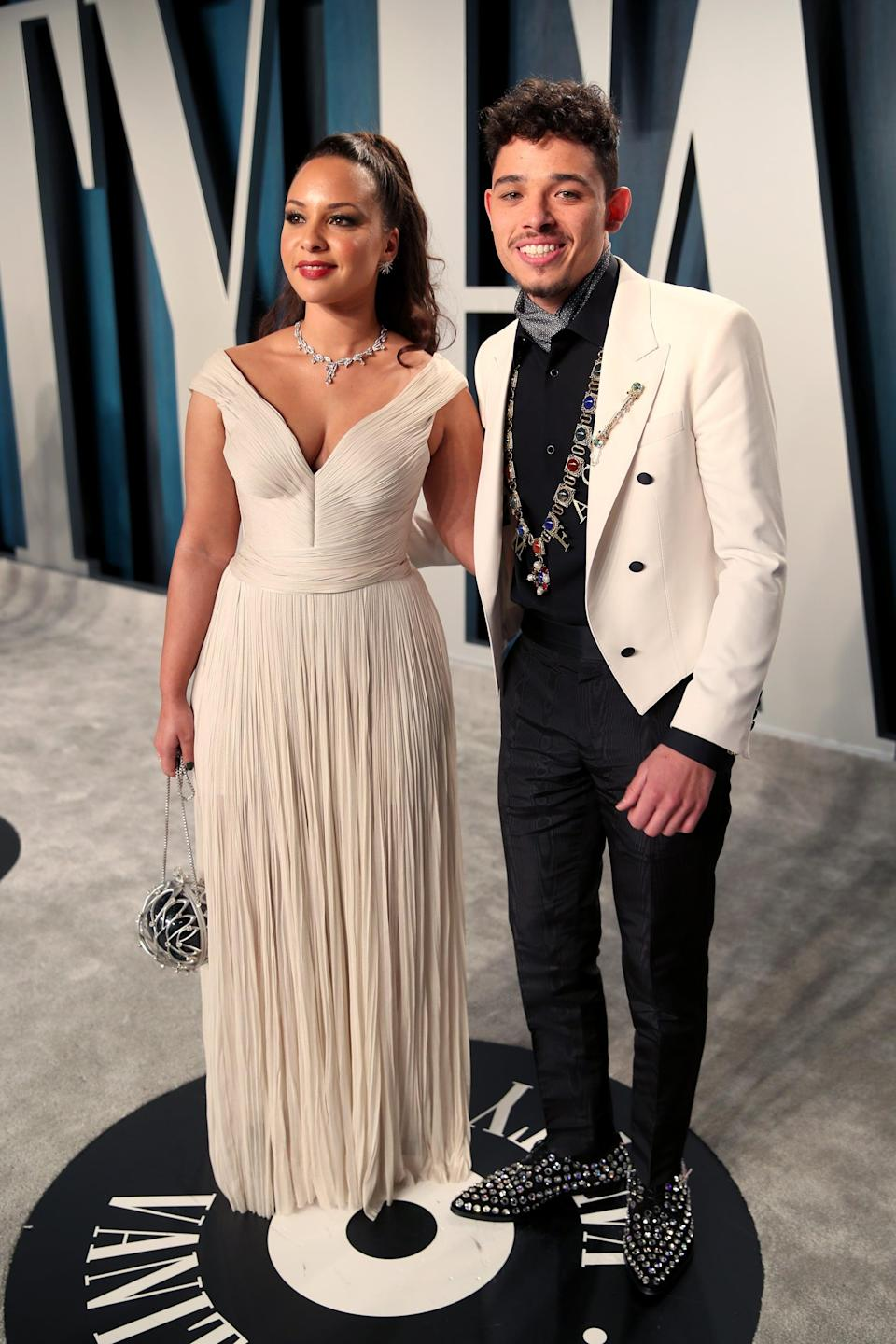"""<p><strong>Hamilton</strong> brought a lot more than stardom to these costars! The couple met when they were both cast in dual roles in the hit musical: her as Peggy Schuyler and Maria Reynolds, him as John Laurens and Philip Hamilton. They got engaged in late 2018, and you can expect to see more of them on the red carpet when things open back up again: Ramos is the star of the upcoming movie musical <strong>In the Heights</strong>, playing the role originated by the show's creator (and his onstage BFF in <strong>Hamilton</strong>) <a class=""""link rapid-noclick-resp"""" href=""""https://www.popsugar.com/Lin-Manuel-Miranda"""" rel=""""nofollow noopener"""" target=""""_blank"""" data-ylk=""""slk:Lin-Manuel Miranda"""">Lin-Manuel Miranda</a>.</p>"""