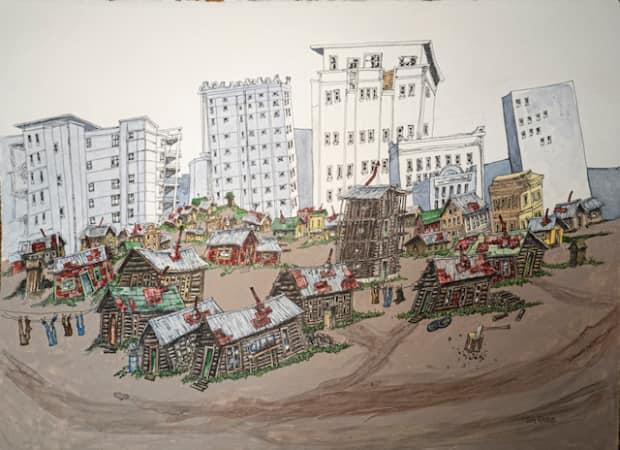 Yukon artist Jim Robb's iconic work often features ramshackle cabins and outhouses in rustic landscapes. His latest work, 'From Outhouses to Condos' features some newer architecture.