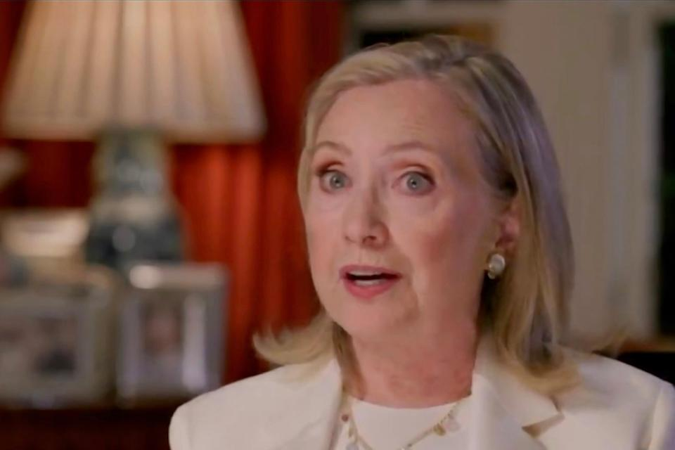 In this screenshot from the DNCC's livestream of the 2020 Democratic National Convention, former first lady and Secretary of State Hillary Clinton addresses the virtual convention on 19 August, 2020. Ms Clinton has accused elected officials of sowing division by repeating unfounded claims of 2020 election fraud. (DNCC via Getty Images)