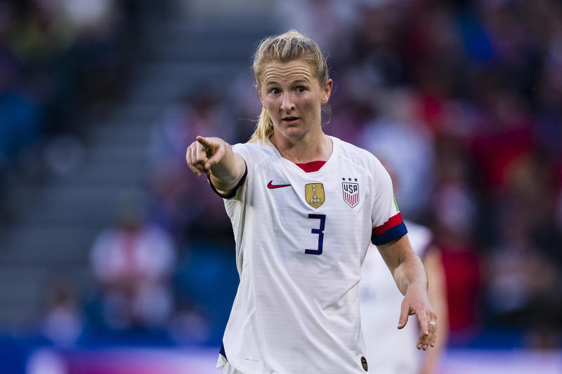 LE HAVRE, FRANCE - JUNE 20: Samantha Mewis of United States gestures during the 2019 FIFA Women's World Cup France group F match between Sweden and USA at on June 20, 2019 in Le Havre, France. (Photo by Marcio Machado/Getty Images)