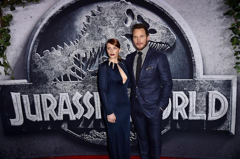 "Actors Bryce Dallas Howard (L) and Chris Pratt attend the premiere of ""Jurassic World"" at the Dolby Theatre on June 9, 2015 in Hollywood, California (AFP Photo/Kevin Winter)"