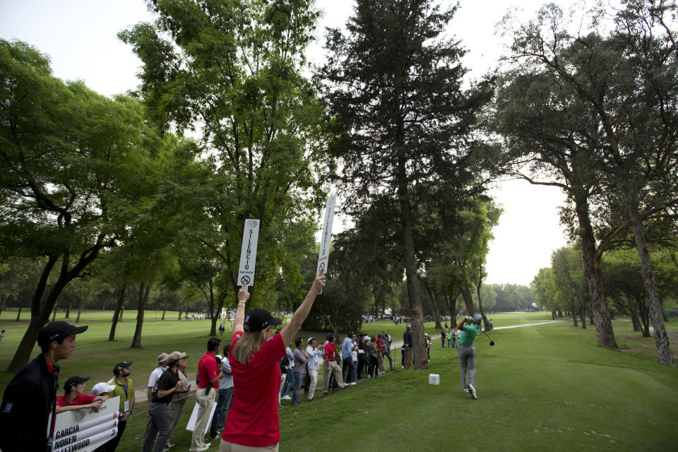 Sergio Garcia of Spain tees off on the 16th hole during the second round of the Mexico Championship at the Chapultepec Golf Club in Mexico City, Friday, March 2, 2018. (AP Photo/Eduardo Verdugo)