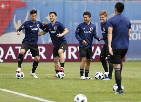 Soccer Football - World Cup - Japan Training - Japan Team Training Site, Kazan, Russia - June 20, 2018 Japan's players during training REUTERS/Toru Hanai
