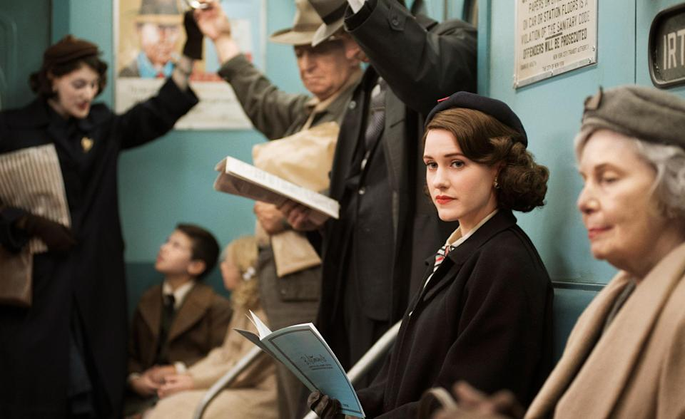 """Rachel Brosnahan plays a 1950s Jewish housewife with a knack for stand-up in The Marvelous Mrs. Maisel<span class=""""copyright"""">Nicole Rivelli—Amazon Studios</span>"""