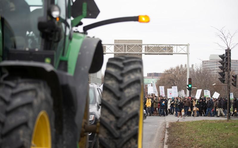 Farmers march and take tractors to the Papineau riding office of PM Trudeau to protest the lack of propane due to the CN Rail strike in Montreal