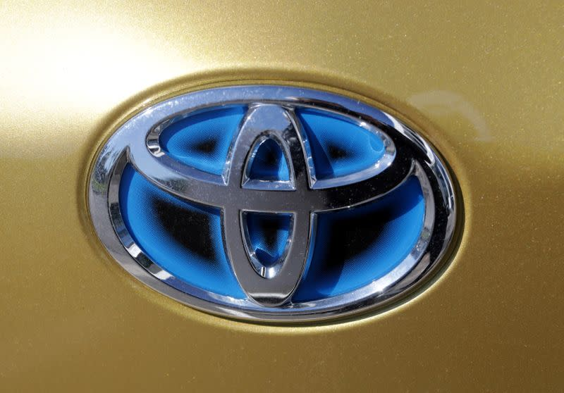 FILE PHOTO: The logo of automaker Toyota is seen on a car in France