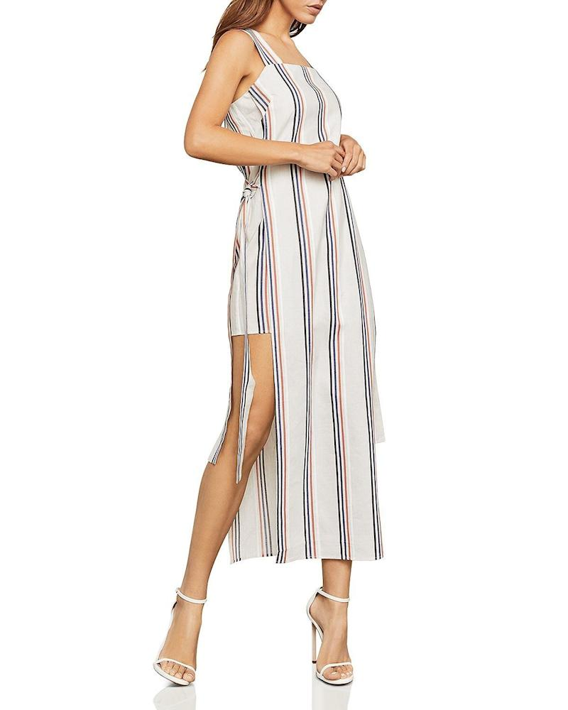 "<strong><a href=""https://www.bloomingdales.com/shop/product/bcbgmaxazria-side-tie-striped-maxi-dress?ID=2957650&amp;CategoryID=2910#fn=ppp%3Dundefined%26sp%3DNULL%26rId%3DNULL%26spc%3D18%26cm_kws%3Dbcbg%20striped%20dress%26spp%3D10%26pn%3D1%7C1%7C10%7C18%26rsid%3Dundefined%26smp%3DallMultiMatchWithSpelling"" target=""_blank"" rel=""noopener noreferrer"">BCBG MaxAzria side-tie striped dress</a>, $118</strong>"