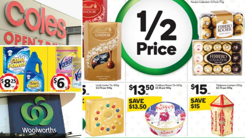 Chocolates and laundry detergent on sale for half-price at Coles and Woolworths.