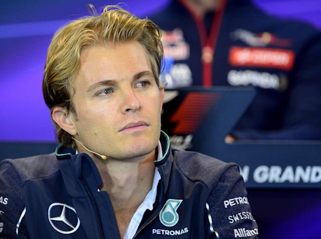 Mercedes's German driver Nico Rosberg holds a press conference at the Spa-Francorchamps circuit in Spa on August 21, 2014 ahead of the Belgium Formula One Grand Prix (AFP Photo/Tom Gandolfini)