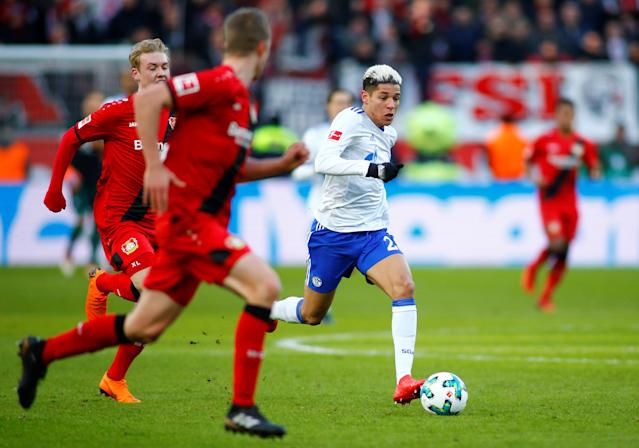 Soccer Football - Bundesliga - Bayer Leverkusen vs Schalke 04 - BayArena, Leverkusen, Germany - February 25, 2018 Schalke's Amine Harit in action REUTERS/Thilo Schmuelgen DFL RULES TO LIMIT THE ONLINE USAGE DURING MATCH TIME TO 15 PICTURES PER GAME. IMAGE SEQUENCES TO SIMULATE VIDEO IS NOT ALLOWED AT ANY TIME. FOR FURTHER QUERIES PLEASE CONTACT DFL DIRECTLY AT + 49 69 650050