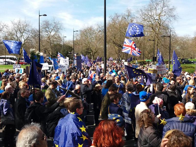 Tens of thousands joined the the Unite for Europe march in central London (Adam Withnall)