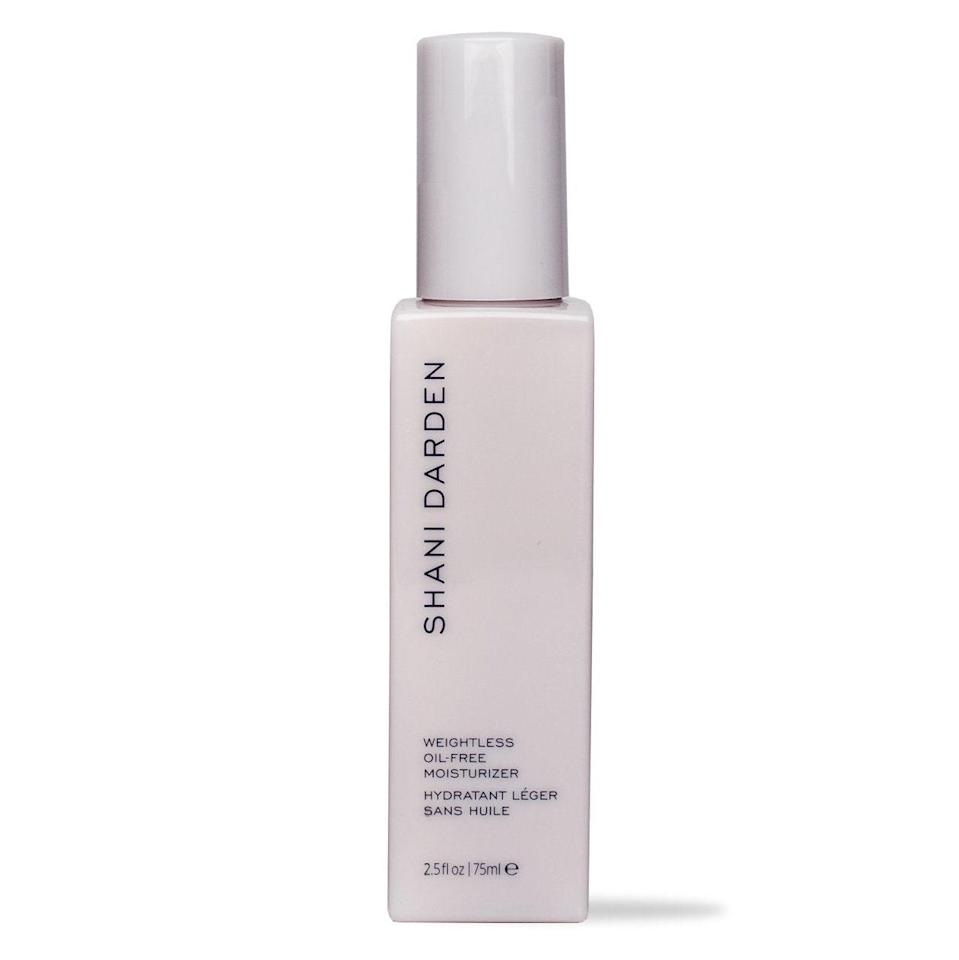 """<p>This lightweight cream is all about keeping pores from getting congested while providing ample hydration. Shani Darden Weightless Oil-Free Moisturizer does that by infusing skin with plumping hyaluronic acid and softening algae extract, all the while omitting the kinds of ingredients that threaten to trigger excess oiliness.</p> <p><strong>$48</strong> (<a href=""""https://shop-links.co/1706973066573781854"""" rel=""""nofollow noopener"""" target=""""_blank"""" data-ylk=""""slk:Shop Now"""" class=""""link rapid-noclick-resp"""">Shop Now</a>)</p>"""