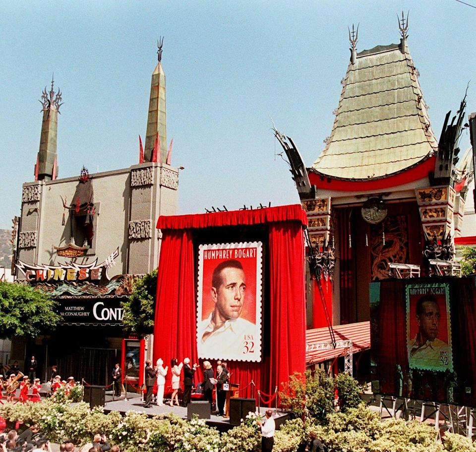 <p>The US Postal Service unveils its Humphrey Bogart stamp in front of the Chinese Theatre as a part of its Hollywood Legends series, which also featured Marilyn Monroe and James Dean.</p>