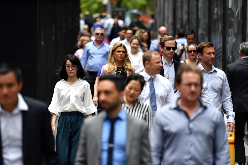Pictured are workers walking through Sydney's Martin Place before the pandemic. Source: AAP