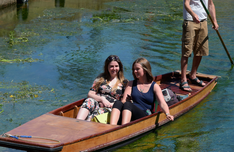 Some punters went punting on the River Stour at Westgate, Kent (Picture: Rex)
