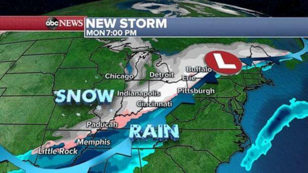 PHOTO: Snow will move into the central U.S. on Monday night. (ABC News)