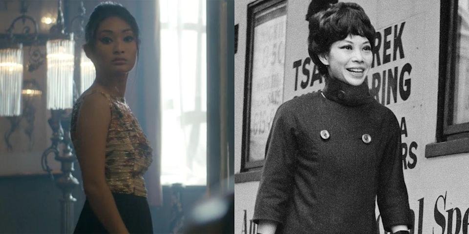 """<p>On season 2 of <em>The Crown</em>, Alice Hewkin played Jacqui Chan, an actress and dancer who dated Antony Armstrong-Jones for years. According to Tony's biographer, <a href=""""https://www.vanityfair.com/culture/2009/02/snowdon-excerpt200902"""" rel=""""nofollow noopener"""" target=""""_blank"""" data-ylk=""""slk:Anne de Courcy"""" class=""""link rapid-noclick-resp"""">Anne de Courcy</a>, Jacqui was """"Tony's first real love"""" and was even invited to his and Princess Margaret's wedding. The scene of Jacqui getting ready for the wedding while staring at an old photograph of herself and Tony in episode 7, """"Matrimonium,"""" is both chilling and emotional, a far cry from the steamier, intense moments she shared with Tony earlier in the episode.</p>"""