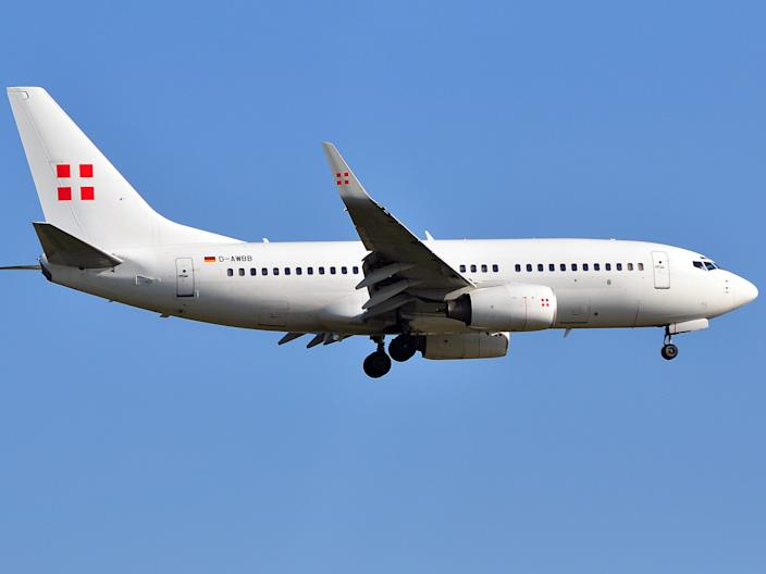 A PrivatAir Boeing Business Jet 737.