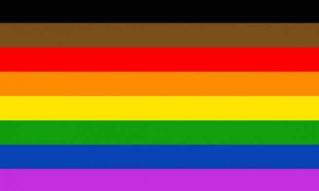 """<p>Philadelphia <a href=""""https://www.vox.com/culture/2017/6/20/15821858/gay-pride-flag-philadelphia-fight-explained"""" rel=""""nofollow noopener"""" target=""""_blank"""" data-ylk=""""slk:added brown and black"""" class=""""link rapid-noclick-resp"""">added brown and black </a>at the top of their flag in 2017 to spotlight the importance of including queer people of color in the LGBTQ+ community. If the design looks familiar to you... </p>"""