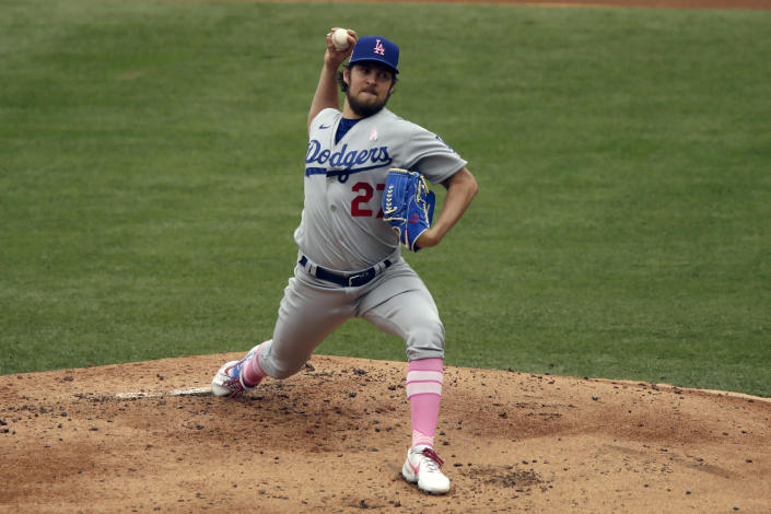 Los Angeles Dodgers starting pitcher Trevor Bauer throws to a Los Angeles Angels batter during the first inning of a baseball game in Anaheim, Calif., Sunday, May 9, 2021. (AP Photo/Alex Gallardo)