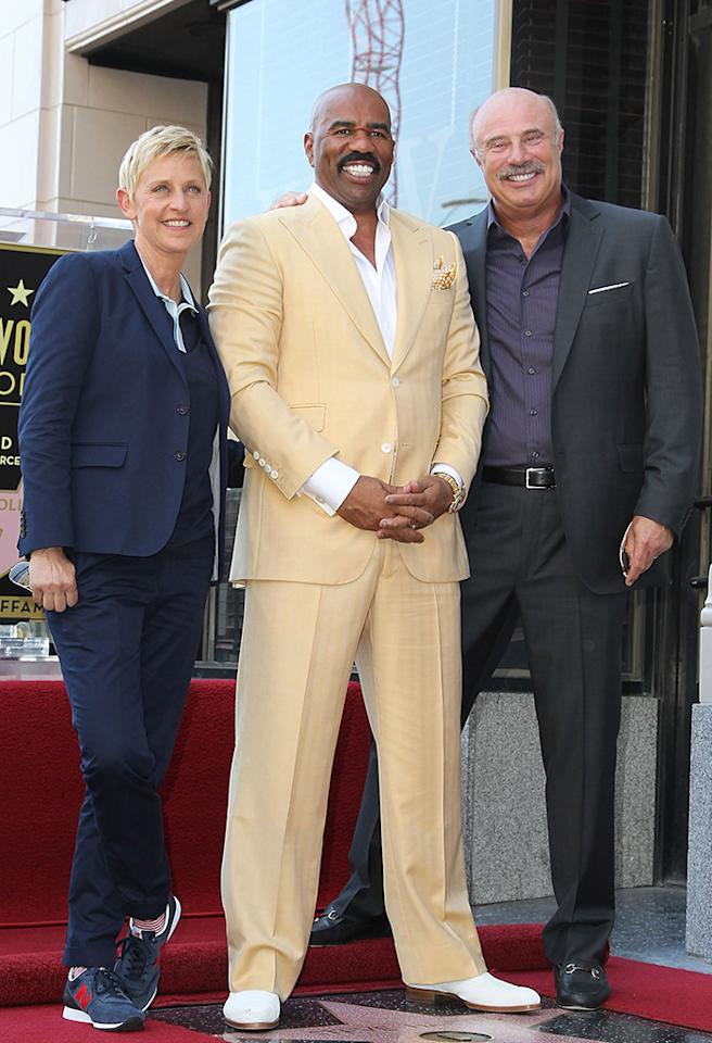 Now that looks like a talkative crowd! Talk show hosts Ellen DeGeneres and Dr. Phil attended a ceremony honoring their colleague Steve Harvey in Hollywood on Monday, when he was given a star on the The Hollywood Walk of Fame. (5/13/2013)