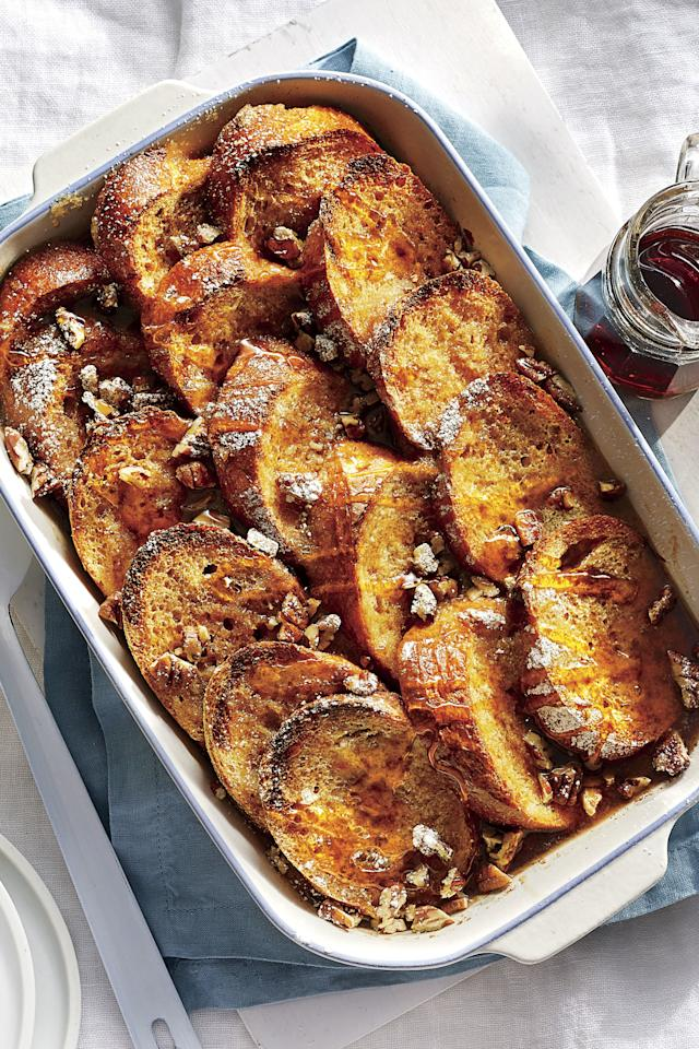 """<p><b>Recipe: <a href=""""https://www.southernliving.com/recipes/overnight-french-toast-casserole"""">Orange-Vanilla French Toast Casserole with Bourbon-Maple Syrup</a></b></p> <p>Whether you add bourbon or not, be sure to choose the good stuff: 100% pure maple syrup.</p>"""