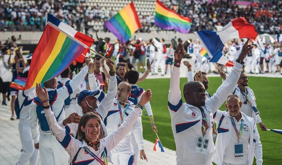 The French team at the opening ceremony of the Gay Games in Paris in 2018. Photo: AFP