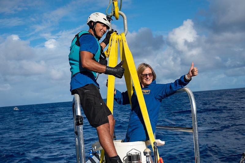 Kathy Sullivan just completed her historic dive to become the first woman to reach the deepest point in the ocean and the first human to have been in space and at full ocean depth. (EYOS Expeditions)