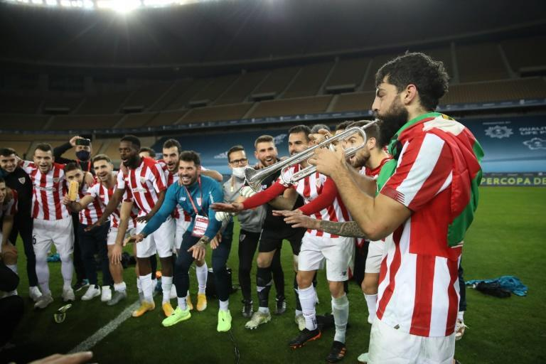 Asier Villalibre led the Bilbao celebrations when they beat Barcelona in the Spanish Super Cup