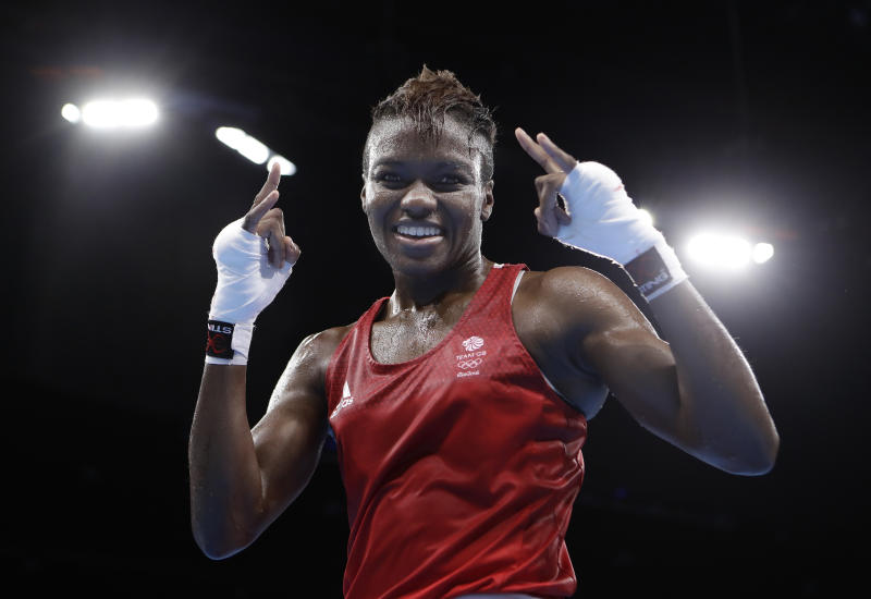 Britain's Nicola Adams poses after winning a women's flyweight 51-kg semifinals boxing match against China's Ren Cancan at the 2016 Summer Olympics in Rio de Janeiro, Brazil, Thursday, Aug. 18, 2016. (AP Photo/Frank Franklin II)