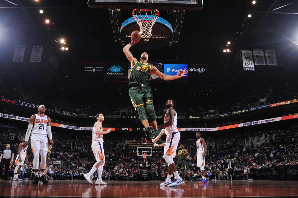 PHOENIX, AZ - APRIL 3 : Rudy Gobert #27 of the Utah Jazz dunks the ball against the Phoenix Suns on April 3, 2019 at Talking Stick Resort Arena in Phoenix, Arizona. (Photo by Barry Gossage/NBAE via Getty Images)