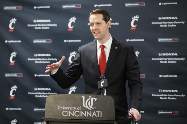 John Brannen speaks during a news conference to formally announce his hiring as Cincinnati's men's basketball coach after leading Northern Kentucky to two NCAA Tournament appearances in the last three years, Monday, April 15, 2019, in Cincinnati. Brannen replaces Mick Cronin, who left Cincinnati for the UCLA job. (AP Photo/John Minchillo)